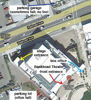 map showing parking and entrances at Bankhead Theater