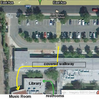 map showing parking lot and music room at East Ave.